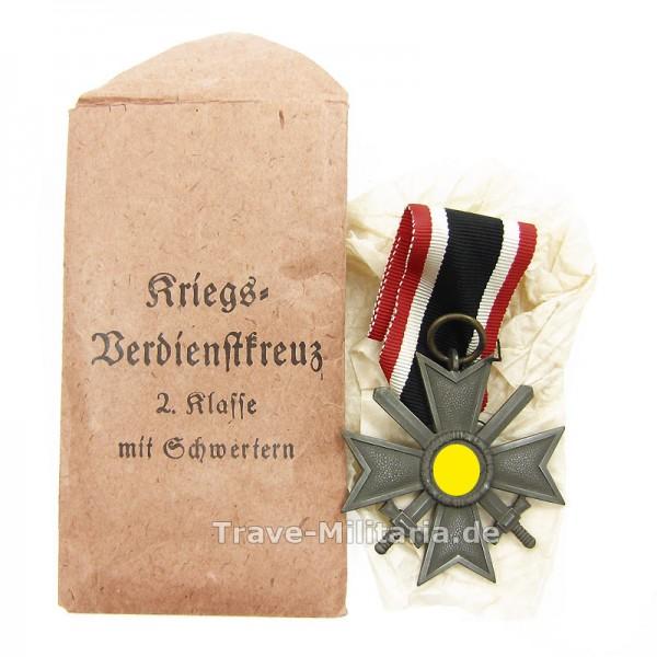 Kriegsverdienstkreuz 2. Klasse mit Schwertern in Verleihtüte Hersteller 127