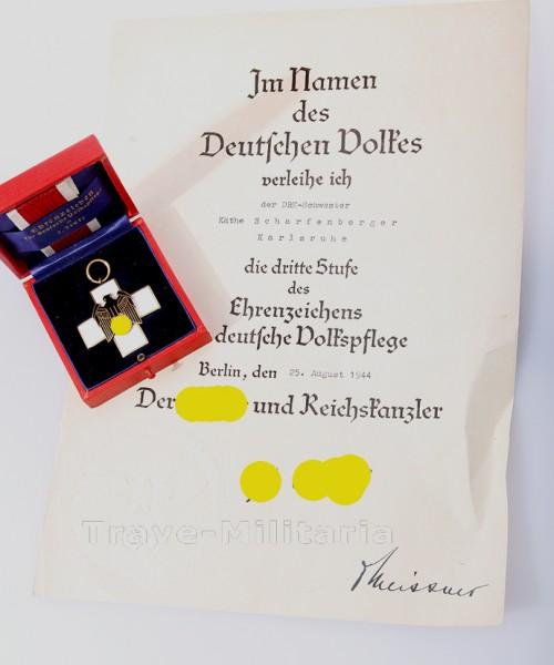 Ehrenzeichen für deutsche Volkspflege 3. Stufe im Etui mit Verleihungsurkunde