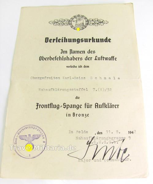 Verleihungsurkunde Frontflugspange zum Aufklärer in Bronze