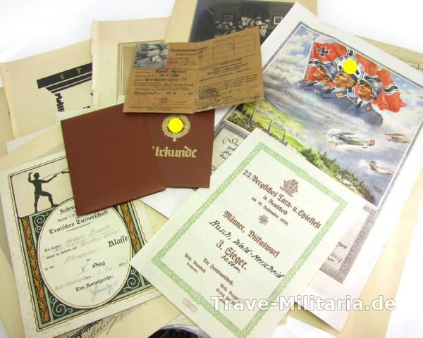 Urkundennachlass Busch, Sport, SA-Sport und Dienstzeitrurkunde