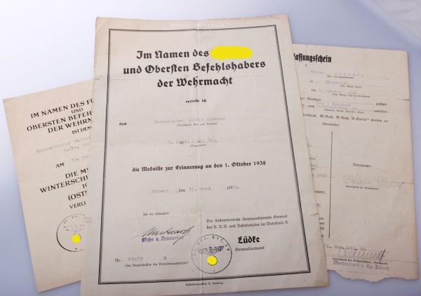 Urkunden Nachlass Sievers, Pionier Btl. Lübeck
