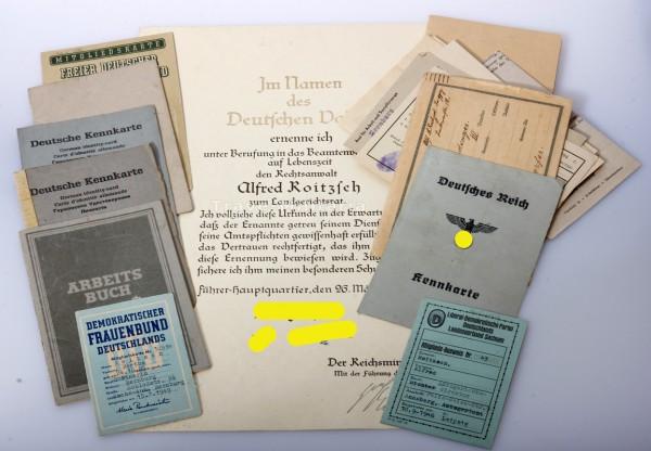 Papiere Roitzsch Landgerichtsrat 3. Reich und Ostzone
