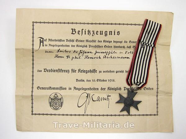 Besitzzeugnis und Verdienstkreuz für Kriegshilfe 1916