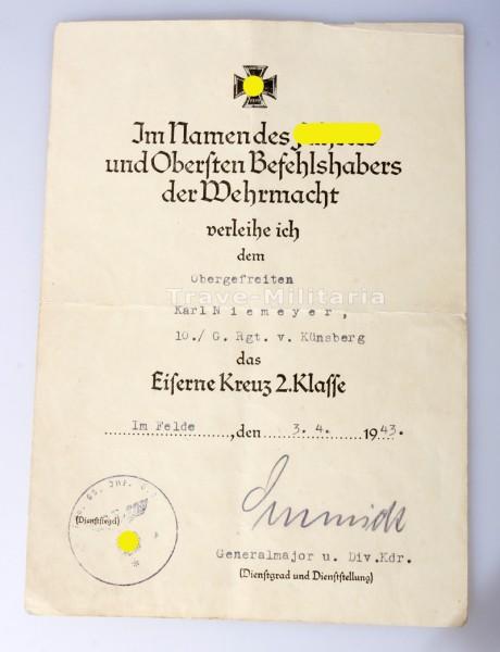 Urkunde Niemeyer G. Rgt. v. Künsberg Alarmregiment von Künsberg