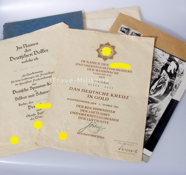 Urkundengruppe Bley Kampfflieger Deutsches Kreuz in Gold