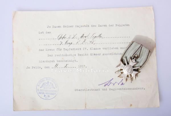 Bulgarien Kreuz für Tapferkeit IV.Klasse mit Urkunde