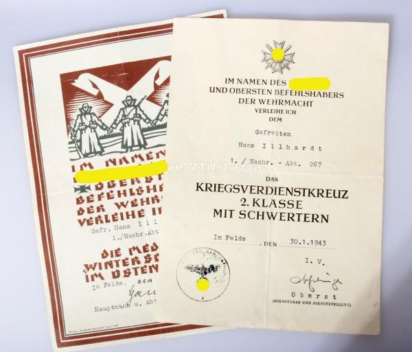 Urkundenpaar Illhardt Schmuckurkunde Ostmedaille