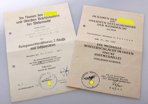 Urkundegruppe Generalmajor Eberhard von Fabrice