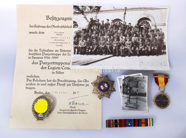 Nachlass Panzertruppenabzeichen der Legion Condor in Silber mit Urkunde