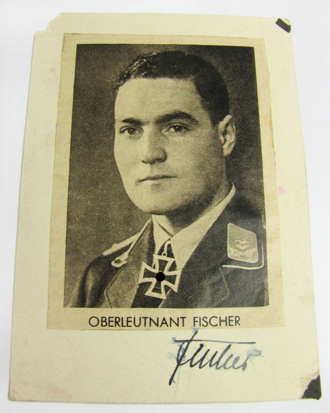 Eichenlaubträger Autogramm Oberleutnant Erwin Fischer