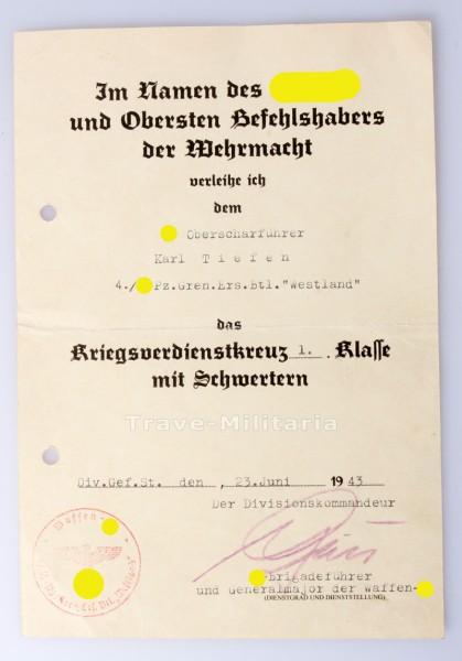 Urkunde Kriegsverdienstkreuz 1. Klasse mit Schwertern Tiefen SS-Westland