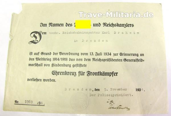 Urkunde zum Ehrenkreuz für Frontkämpfer Dresden