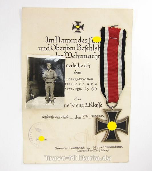 Nachlass LW-Felddivison Eisernes Kreuz mit Urkunde