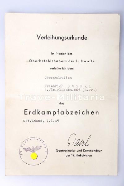Verleihungsurkunde zum Erdkampfabzeichen der Luftwaffe | Archiv ...