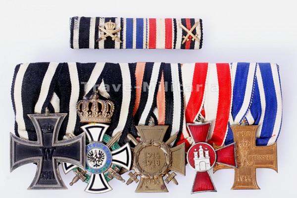 5er Ordens- und Feldspange mit Königlichem Hausorden von Hohenzollern Ritterkreuz