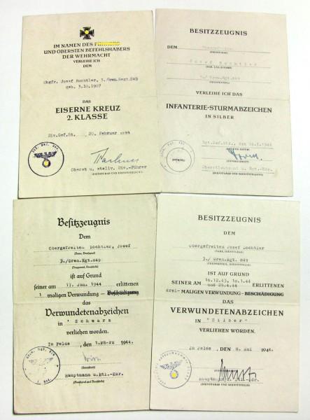 Urkundengruppe Bochtler, Grenadierregiment 849, ISA, VWA, EK