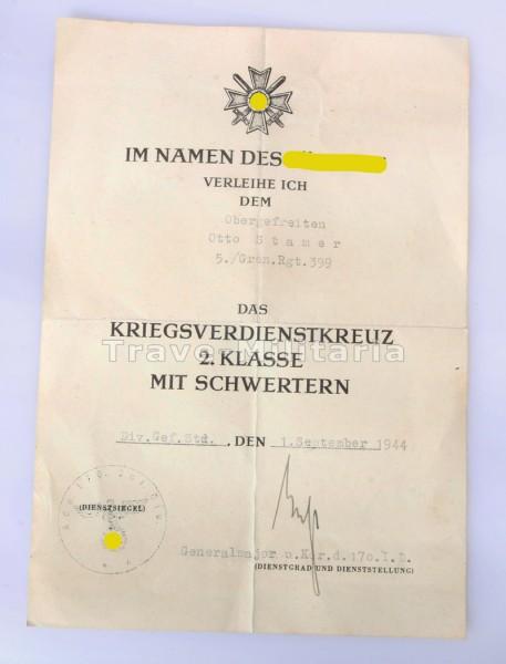 Urkunde Kriegsverdienstkreuz 2.Klasse mit Schwertern