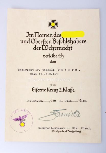 Urkunde Eisernes Kreuz 2. Klasse an einen