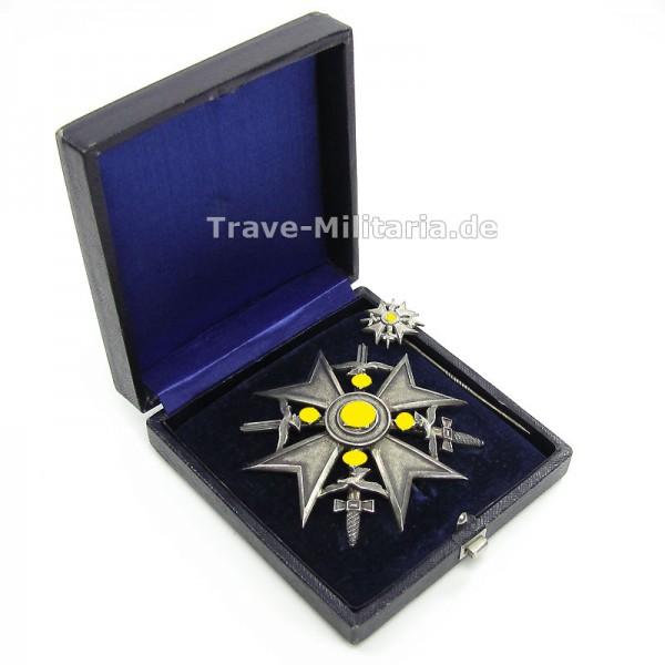 Spanienkreuz in Silber mit Schwertern im Etui mit Miniatur - Meybauer - 900 Silber - perfektes Set