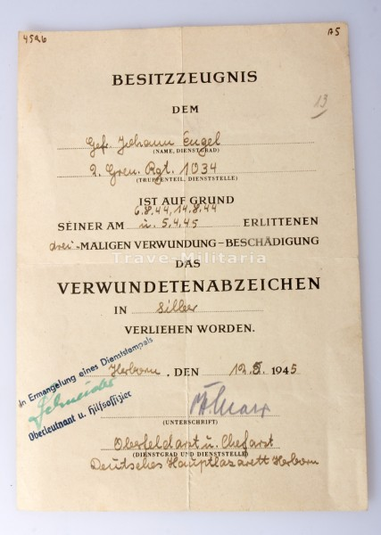 Besitzzeugnis Verwundetenabzeichen in Silber Gren.Regt.1034