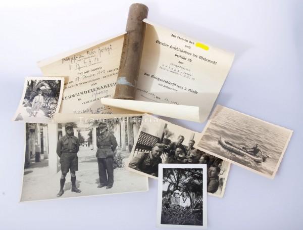 Urkundengruppe Baukolonne Afrika mit Rommel-Unterschrift