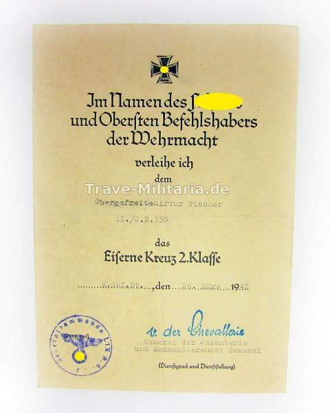 Urkunde zum Eisernen Kreuz 2. Klasse I.R.358