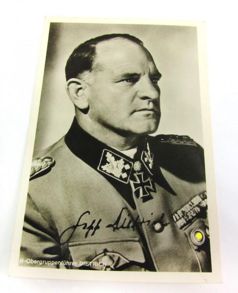 Postkarte von Sepp Dietrich mit Original-Unterschrift