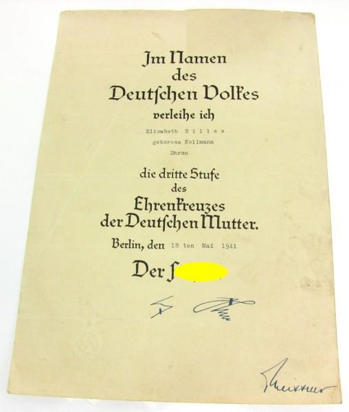 Urkunde zum Ehrenkreuz der Deutschen Mutter 3. Stufe