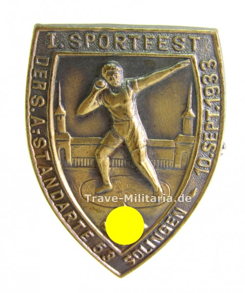Abzeichen 1. Sportfest der SA Standarte 53 Solingen 10. Sept. 1933